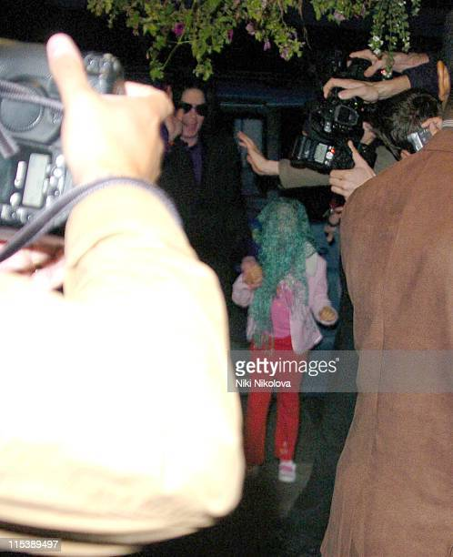 Michael Jackson with his children during Michael Jackson Sighting with his Children at Madame Tussauds October 9 2005 in London Great Britain