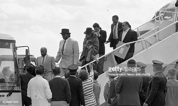Michael Jackson with his son and entourage arriving at Cork airport for his concert at Pairc ui Chaoimh Cork circa July/Aug 1988 Photographer Tom...