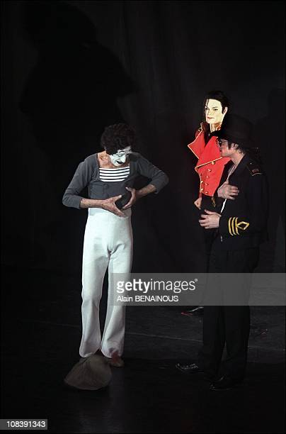 Michael Jackson with mime Marcel Marceau in Paris France on april 19 1997
