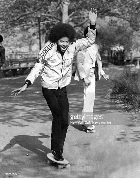 Michael Jackson with skateboard in Central park