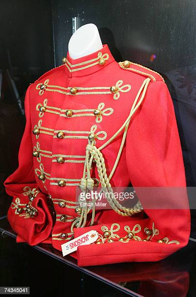 Michael Jackson's 1980s red coat with goldtoned embroidery and buttons designed by Bill Whitten is on display at The Joint music venue inside the...