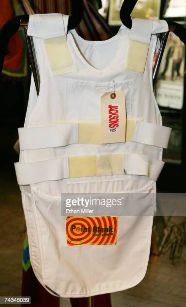 Michael Jackson's bullet proof vest hangs on display at The Joint music venue inside the Hard Rock Hotel Casino May 27 2007 in Las Vegas Nevada...