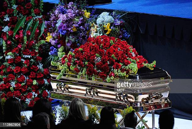 Michael Jackson's casket is displayed at the public memorial service held at the Staples Center in Los Angeles California Tuesday July 7 2009