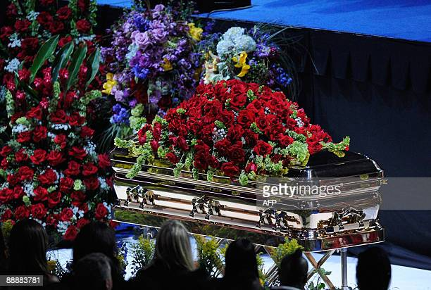 Michael Jackson's casket is displayed at the public memorial service held at Staples Center on July 7 2009 in Los Angeles California Jackson the...