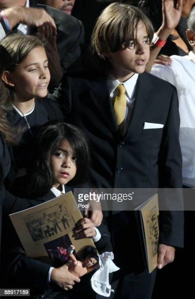 Michael Jackson's children Paris Katherine Jackson Prince Michael Jackson II and Prince Michael Jackson onstage during the Michael Jackson public...