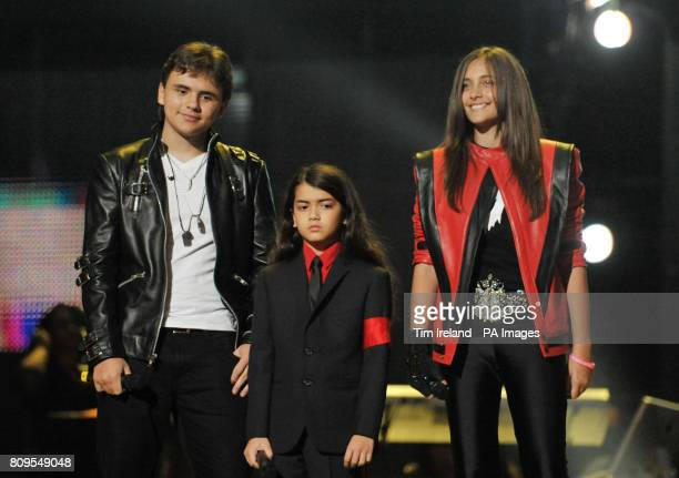 Michael Jackson's children Prince Blanket and Paris at the Michael Forever Tribute Concert at the Millennium Stadium Cardiff