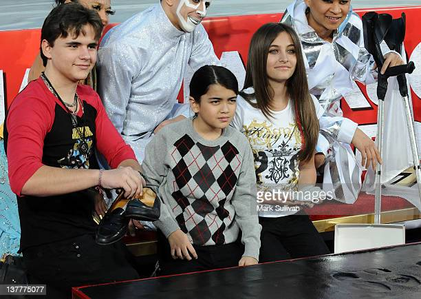 Michael Jackson's children Prince Jackson, Blanket Jackson and Paris Jackson during the Michael Jackson Hand And Footprint Ceremony at Grauman's...