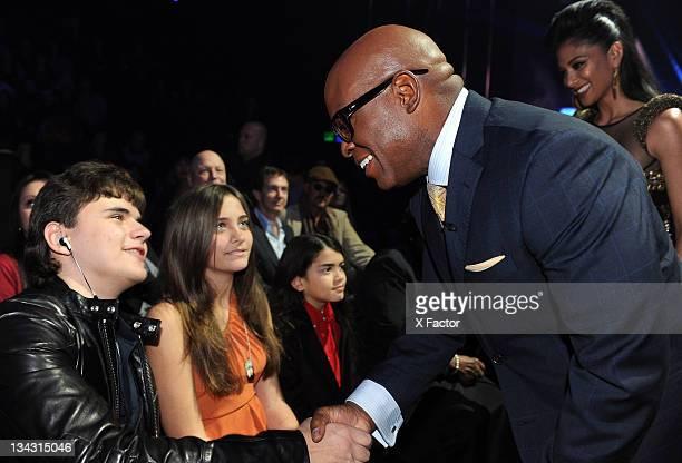 Michael Jackson's children Prince Jackson Paris Jackson Blanket Jackson and judge LA Reid in the audience at FOX's The X Factor Top 7 Live...