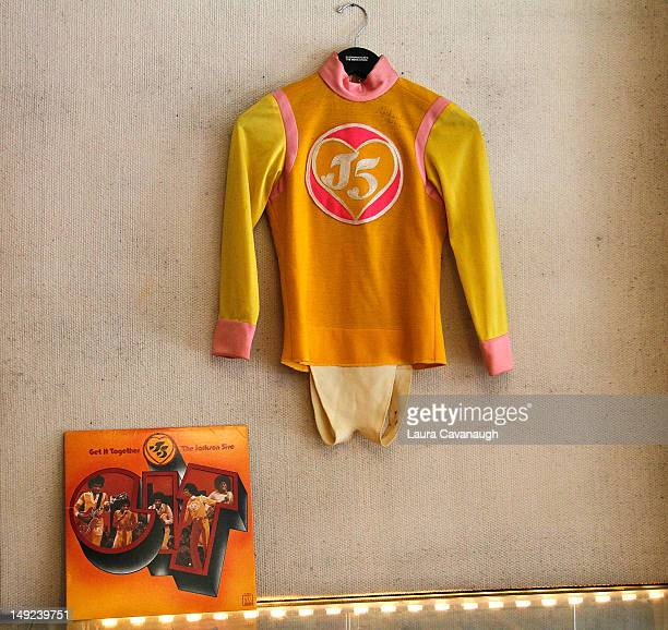 Michael Jackson's costume displayed at a press preview for the Gotta Have Rock and Roll online auction at the Gotta Have It store on July 25 2012 in...