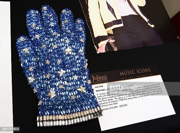 Michael Jackson's crystal glove from the 1988 film 'Moonwalker' is displyed during Julien's Auction Music Icons Press Exhibition at Hard Rock Cafe...