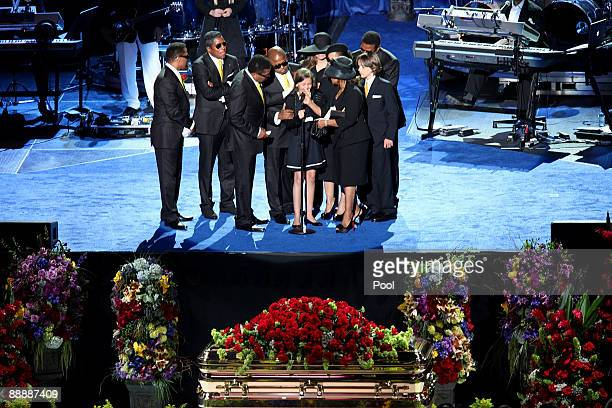 Michael Jackson's daughter, Paris Jackson , stands on stage with Jackson's siblings at the Michael Jackson public memorial service held at Staples...