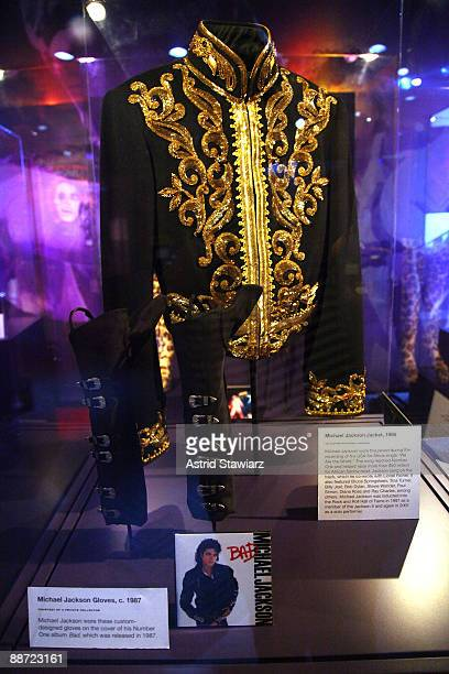 Michael Jackson's gloves worn in the 1987 'Bad' Album and the sequined jacket worn in the 1985 'We Are the World' video is on exhibit at the Rock...