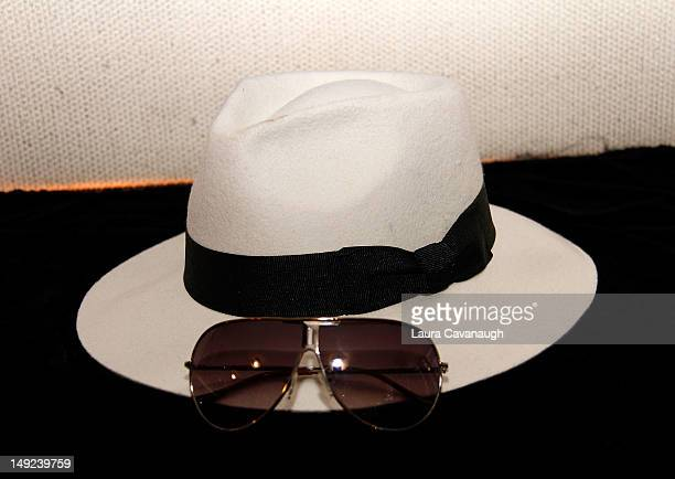 Michael Jackson's hat and sunglasses displayed at a press preview for the Gotta Have Rock and Roll online auction at the Gotta Have It store on July...