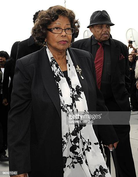 Michael Jackson's parents Katherine and Joe Jackson arrive prior to doctor Conrad Murray at the Los Angeles Airport Courthouse on February 8 2010...