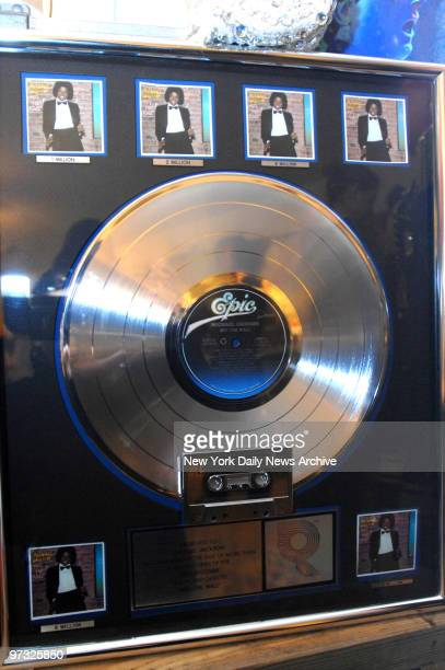 Michael Jackson's platinum Off the Wall album is previewed at Guernsey's auction house on E 73rd St It will auctioned off with other Jackson family...