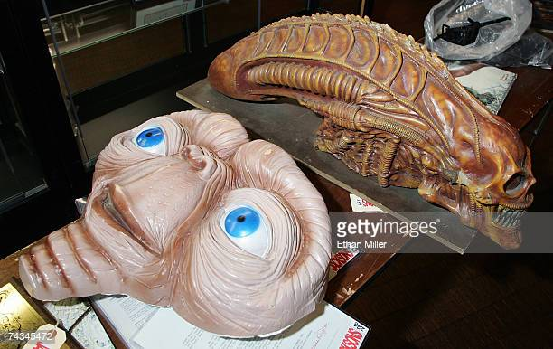 Michael Jackson's sculptural prototype from the movie ET and his movie sculptural study from the film Alien are seen at The Joint music venue inside...