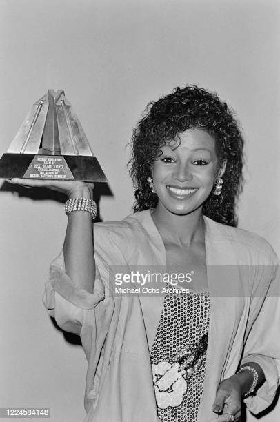 Michael Jackson's sister Rebbie Jackson with an award for Best Home Video in 1984, at the Third Annual American Video Awards in Santa Monica,...