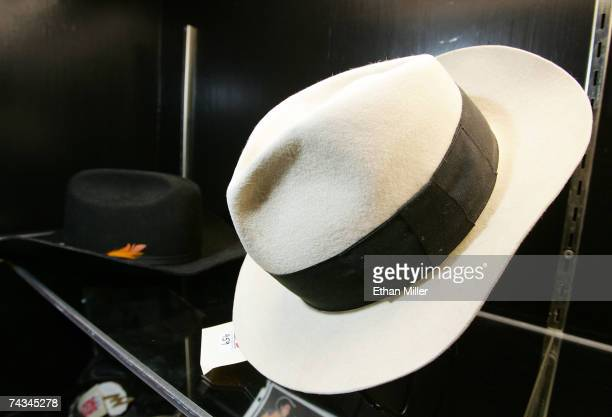 Michael Jackson's white fedora is on display at The Joint music venue inside the Hard Rock Hotel Casino May 27 2007 in Las Vegas Nevada Guernsey's...