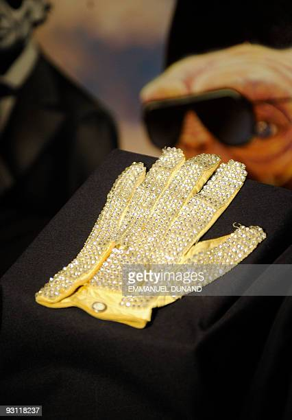 Michael Jackson's white jeweled glove is on display at an auction preview in New York November 17 2009 The glove which Michael Jackson wore at the...