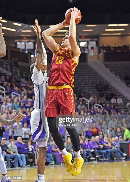 Michael Jacobson of the Iowa State Cyclones puts up a shot against the Kansas State Wildcats during the first half at Bramlage Coliseum on March 7...