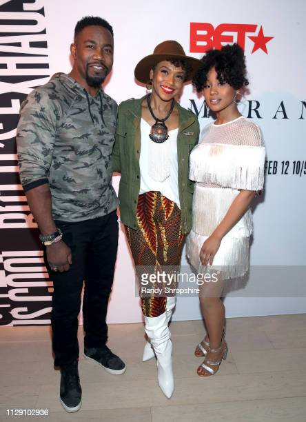 Michael Jai White Gillian Iliana Waters and Katlyn Nichol attend the BET Boomerang LA premiere at Wolf Theatre on February 11 2019 in North Hollywood...
