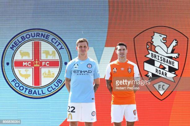 Michael Jakobsen of Melbourne City and Corey Gameiro of Brisbane Roar pose during the 2017/18 ALeague Season Launch at Port Melbourne SC on October 3...
