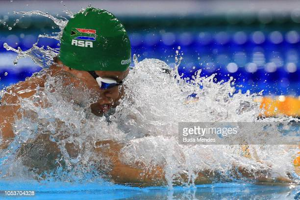 Michael James Houlie of South Africa competes in Men's 50m Breaststroke Semifinal 1 on during day 5 of Buenos Aires 2018 Youth Olympic Games at...