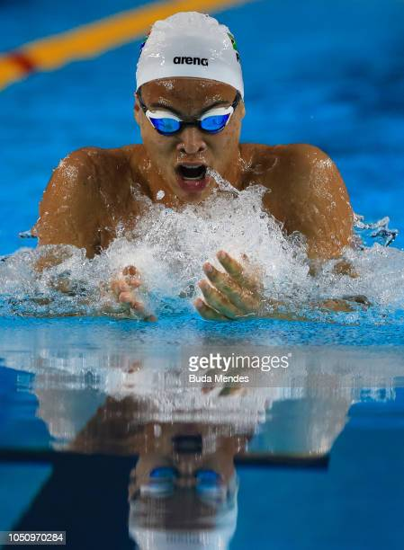 Michael James Houlie of South Africa competes Mens 100m Breakstroke semifinals on Day 1 of the Buenos Aires 2018 Youth Olympic Games at Aquatics...