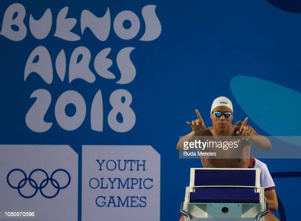 Michael James Houlie of South Africa gets ready to compete in Mens 100m Breakstroke semifinals on Day 1 of the Buenos Aires 2018 Youth Olympic Games...