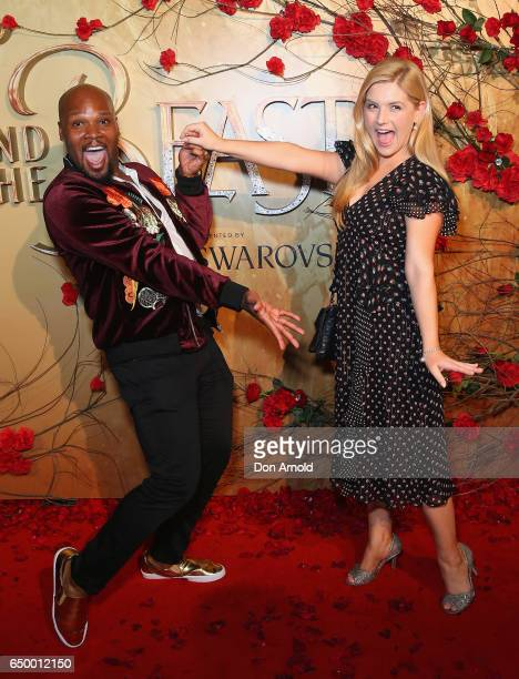 Michael James Scott and Lucy Durack arrive ahead of the Beauty And The Beast Australian Premiere at State Theatre on March 9 2017 in Sydney Australia