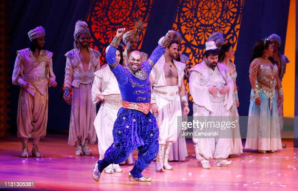 Michael James Scott attends Aladdin Broadway curtain call at New Amsterdam Theatre on February 21 2019 in New York City
