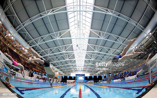 Michael Jamieson and and Craig Benson start their Men's 200m Breaststroke heat on day one of the British Gas Swimming Championships 2014 at Tollcross...