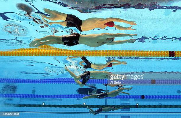 Michael Jamieson and Andrew Willis of Great Britain compete the Final for the Men's 200m Breaststroke on Day 5 of the London 2012 Olympic Games at...