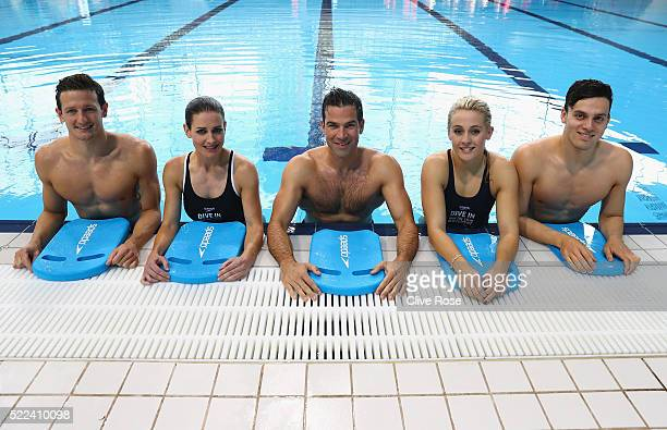 Michael Jamieson Kirsty Gallacher Gethin Jones Siobhan O'Conner and James Guy pose for the camera's during the Speedo 'Dive In' launch at Aquatics...