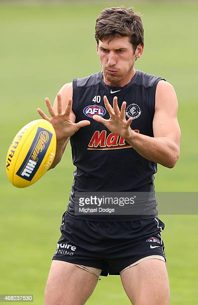 Michael Jamison of the Blues marks the ball during a Carlton Blues AFL training session at Ikon Park on April 1 2015 in Melbourne Australia