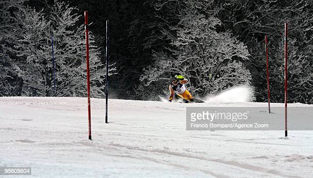 Michael Janyk of Canada takes6th place during the Audi FIS Alpine Ski World Cup Men's Slalom on January 6 2010 in Zagreb Croatia