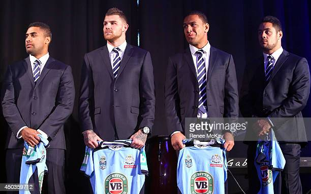 Michael Jennings Josh Dugan Will Hopoate and Jarryd Hayne stand in line to receive their jerseys during the New South Wales Blues State of Origin...