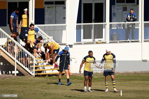 Michael Jennings of the Eels and Blake Ferguson of the Eels are seen during a Parramatta Eels NRL training session at Kellyville Park on August 05...