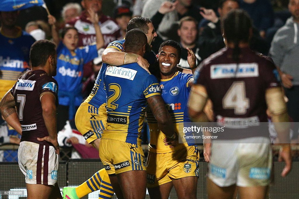 Michael Jennings of the Eels celebrates scoring a try during the round seven NRL match between the Manly Sea Eagles and Parramatta Eels at Brookvale Oval on April 14, 2016 in Sydney, Australia.