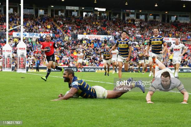 Michael Jennings of the Eels celebrates scoring the fina ltry during the round one NRL match between the Penrith Panthers and the Parramatta Eels at...