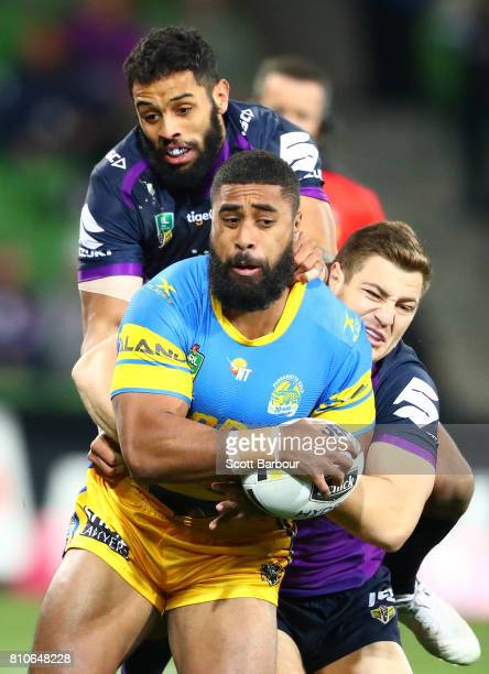 Michael Jennings of the Eels is tackled during the round 18 NRL match between the Melbourne Storm and the Parramatta Eels at AAMI Park on July 8 2017...