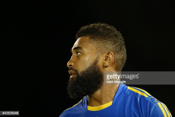 Michael Jennings of the Eels looks on during the NRL Trial match between the Penrith Panthers and Parramatta Eels at Pepper Stadium on February 18...