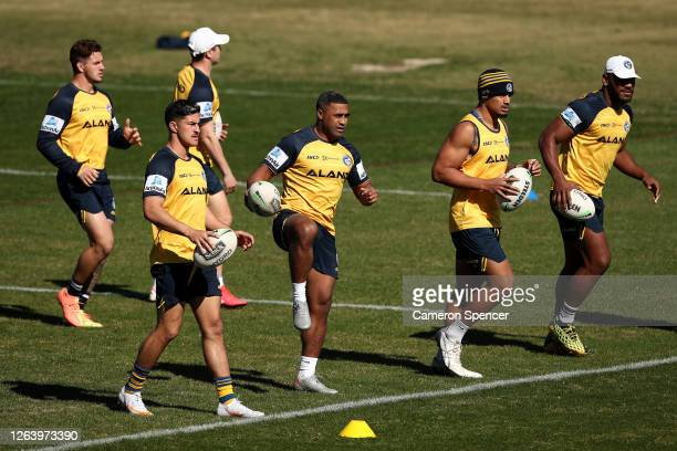 Michael Jennings of the Eels stretches during a Parramatta Eels NRL training session at Kellyville Park on August 05 2020 in Sydney Australia