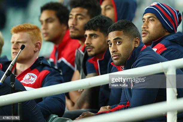 Michael Jennings of the Roosters watches on from the stands during the round 15 NRL match between the St George Illawarra Dragons and the Sydney...