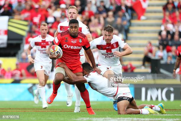 Michael Jennings of Tonga during the 2017 Rugby League World Cup Semi Final match between Tonga and England at Mt Smart Stadium on November 25 2017...