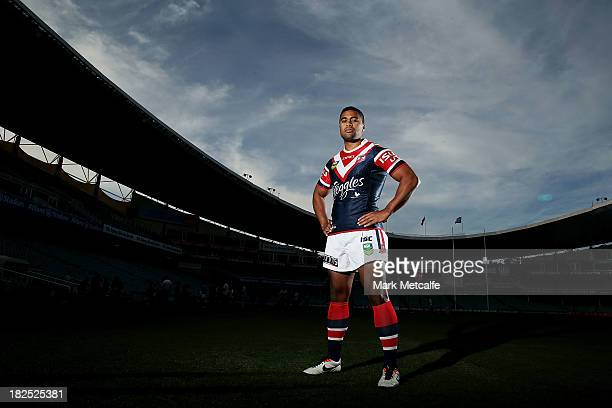 Michael Jennings poses during the Sydney Roosters NRL Grand Final media day at Allianz Stadium on September 30 2013 in Sydney Australia