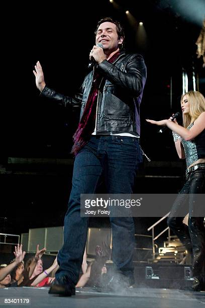 Michael Johns performs during the American Idols Live Tour 2008 at the Conseco Fieldhouse on July 22 2008 in Indianapolis