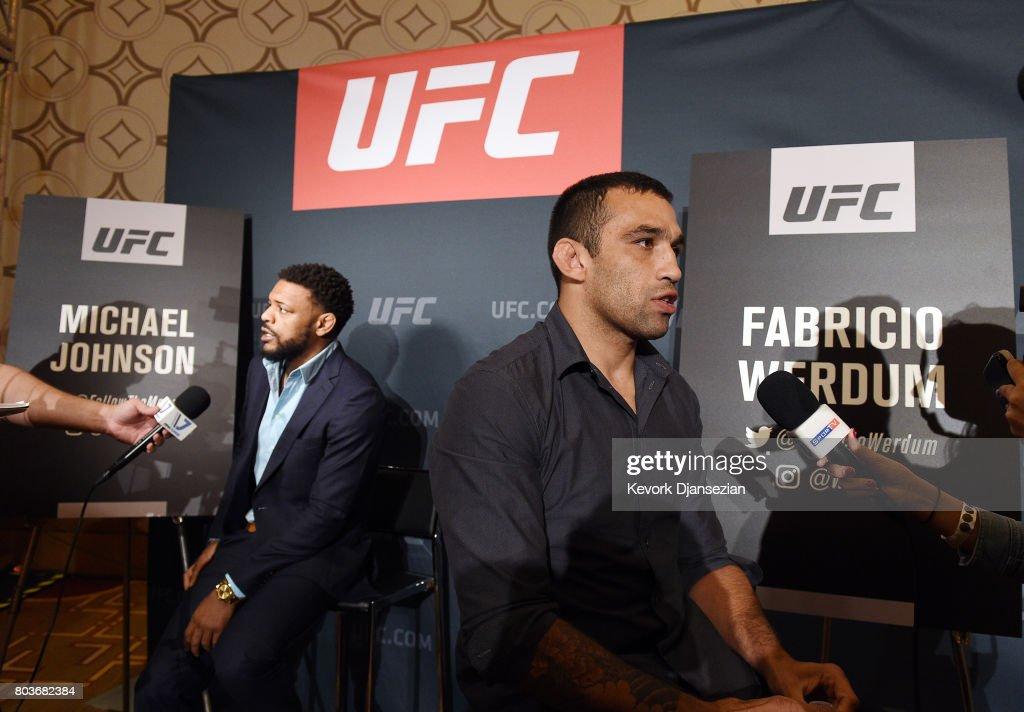 Michael Johnson (L) and Fabricio Werdum speak during the UFC International Fight Week Media Day June 29, 2017, in Los Angeles, California.