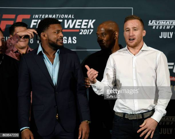 Michael Johnson and Justin Gaethje face off during the UFC International Fight Week Media Day June 29 in Los Angeles California
