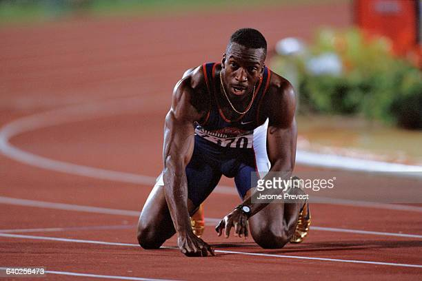Michael Johnson at the arrival of the Mens' 200 meter race of the Olympic Games.